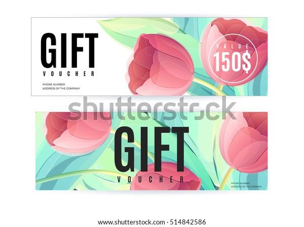 Vector Gift Voucher Template Tulip Flowers Stock Vector (Royalty