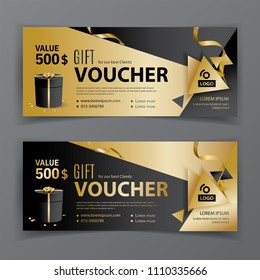 Vector gift voucher template. Universal flyer for business. Luxury vector design, black gold design elements. Gift voucher value 500 dollars for department stores, business. Abstract background
