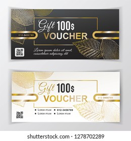 Vector gift voucher template. Universal flyer for business. luxury white black vector design with gold leaves for department stores, business. 100 dollars