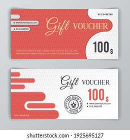 Vector gift voucher template. Universal flyer for business. luxury red white vector design for department stores, business. Value 100 dollars.