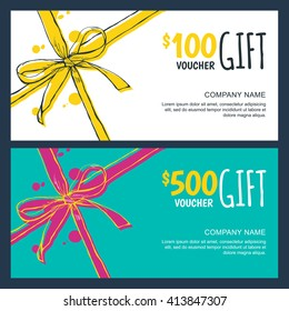 Vector gift vouchers with bow ribbons, white and blue backgrounds. Creative holiday cards or banners. Design concept for gift coupon, invitation, certificate, flyer, ticket.