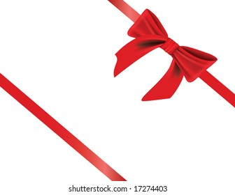 Vector - gift wrapped with elegant red bow, with realistic shading