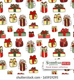 Vector gifts hand drawn seamless pattern. Color doodles on white color.