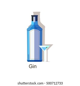 Vector gin bottle and glass isolated