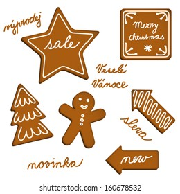 Vector ginger bread web elements with English and Czech texts.