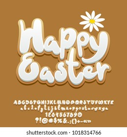 Vector gingerbread cookie card Happy Easter with flower. Set of Alphabet Letters, Numbers and Punctuation Symbols