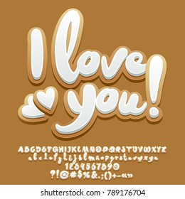 Vector gingerbread cookie card I love you with hearts. Set of Alphabet Letters, Numbers and Punctuation Symbols