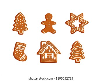 Vector gingerbread cookie set. Christmas objects: Christmas tree,  gingerbread man, star, Christmas stocking, gingerbread house. New Year decorations, items, symbols, icons.