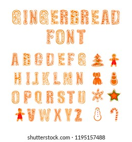 Vector Gingerbread Font, Doodle Hand Drawn Cookies and Letters Set Isolated on White Background.