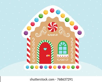 Vector gingerbread house. Christmas cookies and candy. Cute illustration