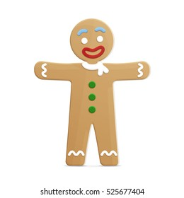 Vector gingerbread man with green button