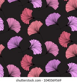 Vector gingko leaves. Beautiful leaves botany texture. Modern plant background. Abstract nature wallpaper