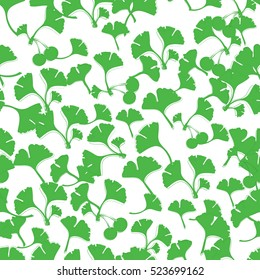Vector ginkgo leaves. Can be used for wallpaper, pattern fills, textile, web page background, surface textures. Vector illustration.