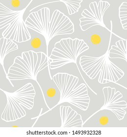Vector ginkgo leaves seamless pattern, white and gray