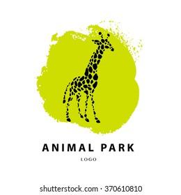 Vector giraffe logo illustration. Wild animal logo. Giraffe icon good for park, shelter, reserve, pet shop, touristic, safari traveling company, cosmetic brand, kid toys store.