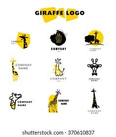 Vector giraffe logo illustration. Wild animal. Giraffe icon collection, good for park, shelter, reserve, pet shop, touristic, safari traveling company, cosmetic brand, kid toys store, sunglasses shop.