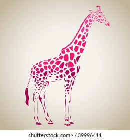 Vector giraffe silhouette, abstract animal illustration. Can be used for background, card, print materials