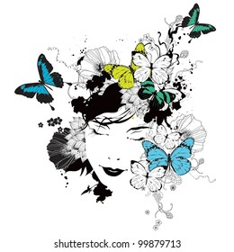 Vector girl with butterflies and flowers