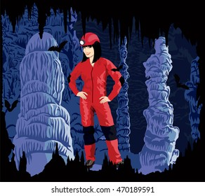 Vector girl caver in cave with stalactites and stalagmites and bats
