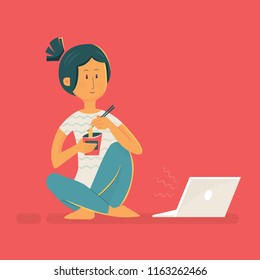 Vector girl character design illustration. Freelance lazy woman eating instant noodle watching tv series with laptop computer.