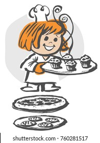 Vector girl chef