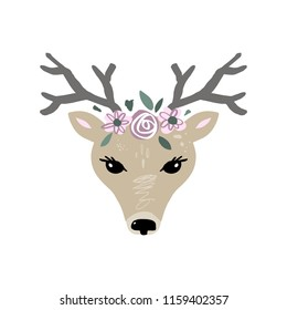 Vector girl deer face, muzzle, mask. Nursery decorative poster, card, t-shirt and other. Isolated on white background.