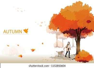 vector girl and dog labrador retriever walking in the park.autumn concept