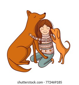 Vector girl with dogs illustration. Can be used and printed as card, postcard, placard, poster, invitation