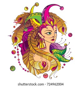 Vector girl face in clown cap with outline golden peacock feathers, ornate green collar and beads isolated on white background. Design for masquerade and Mardi Gras celebration in contour style.
