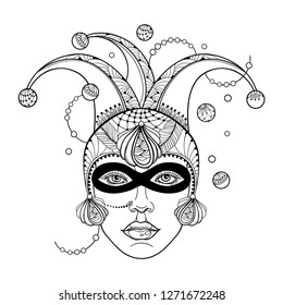 Vector girl face in outline clown or harlequin cap, mask, peacock feathers and beads in black isolated on white background. Design for masquerade, Mardi Gras party and coloring book in contour.