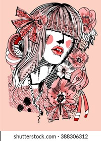 Vector girl with flowers