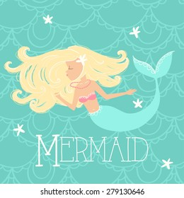 Vector Girl Mermaid Illustration