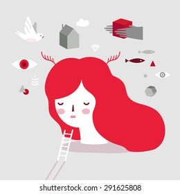 Vector girl on psychotherapy. Dream Head. Psychology illustration