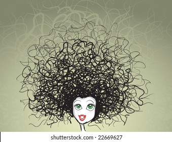 vector girl portrait. crazy hairstyle. All elements are layered separately in vector file.