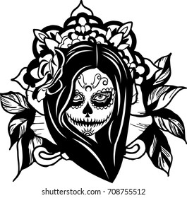 Vector girl Santa Muerte death