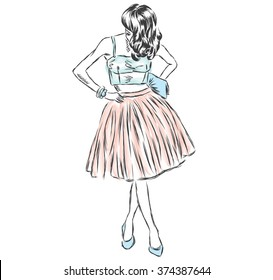 Vector girl in a skirt. Fashion sketch. Vector illustration for greeting card, poster, or print on clothes.