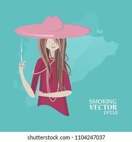 Vector girl smokes.
