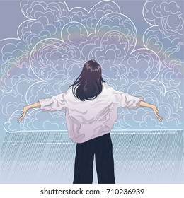vector girl spread her arms towards the rainy clouds in the sky and rainbow, the view from the back
