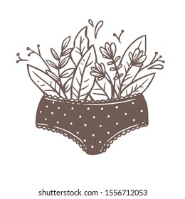 Vector girl underwear. Gynecology and woman health creative concept. Panties or undies with flowers, plants and growing blooming foliage. Drawing sign, logo, emblem or label