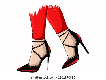 ea8c769ac327 Vector girls in high heels. Fashion illustration. Female legs in shoes. Cute  design