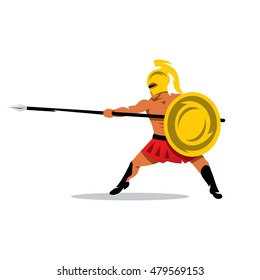 Vector Gladiator Warrior Cartoon Illustration. Spartan fighter with spear and shield. Unusual Logo template isolated on a white background