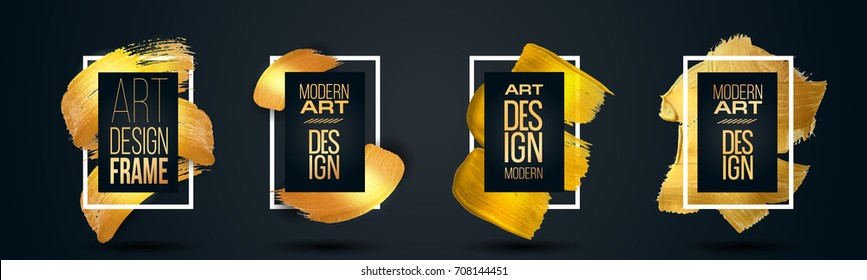 vector glamor illustration. Hipster stylish modern frame with a golden paint texture. Set design graphics for the design of flyers, cards, posters, covers.