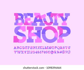 Vector glamour logo Beauty Shop. Romantic creative Font. Sliced Alphabet Letters, Numbers and Symbols