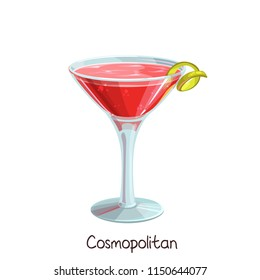 Vector glass of Cosmopolitan cocktail with lime slice isolated on white. Color illustration summer alcohol drink.