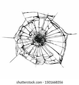 vector glass cracked breaking effect. Broken glass. Broken window or mirror after bullet. Vector illustration.