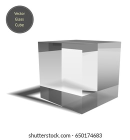 Vector glass cube isolated on white background. Realistic 3D glass block with glares and shadows. Vector illustration.