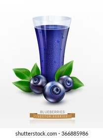 Vector glass cup with juice of blueberries isolated on white background