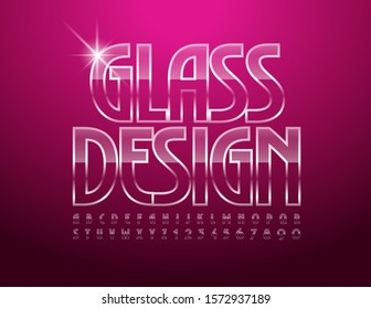 Vector Glass Design elegant Font. Transparent iced Alphabet Letters and Numbers