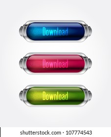 Vector glass Download button in 3 colors