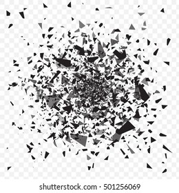 Vector glass explosion isolated on white transparent background. Many black sharp pieces randomly flying in the air. Vector glass explosion concept. Black glass pieces on white.